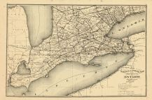 Ontario Province - Railway and Postal Map 1, Oxford County 1876