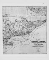 Ontario Province Map, Peterborough Town and Ashburnham Village 1875