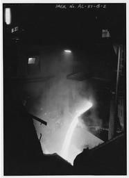 Interior View With Mixer To Ladle Transfer, U.S. Steel, Fairfield Works, Q-Bop Furnace, North of Valley Road & West of Ensley, Pleasant Gr, Fairfield, Jefferson County, AL