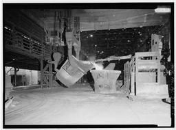 Interior View With Slag Being Skimmed From The Ladle, After Desulphurizing The Molten Iron., U.S. Steel, Fairfield Works, Q-Bop Furnace, North of Valley Road & West of Ensley, Pleasant Gr, Fairfield, Jefferson County, AL