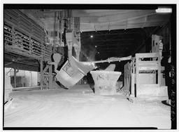 Interior View With Slag Being Skimmed From Ladle., U.S. Steel, Fairfield Works, Q-Bop Furnace, North of Valley Road & West of Ensley, Pleasant Gr, Fairfield, Jefferson County, AL