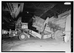 Interior View With Scrap Hauler Dumping Scrap Into Q-bop Furnace, U.S. Steel, Fairfield Works, Q-Bop Furnace, North of Valley Road & West of Ensley, Pleasant Gr, Fairfield, Jefferson County, AL