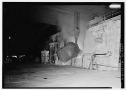 Interior View With Ladle Pouring Molten Iron Into Q-bop Furnace., U.S. Steel, Fairfield Works, Q-Bop Furnace, North of Valley Road & West of Ensley, Pleasant Gr, Fairfield, Jefferson County, AL