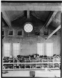 Interior View Of 1907 Section Of Powerhouse, Upstairs, Showing Round Window And Wall, Looking Toward Left Bank And Down Into 1913 (middle) Section From Right Bank