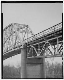 Detail Of Pratt Deck Truss, And North Portal Of Pennsylvania Petit Truss With Concrete Supporting Pier, Looking Southwest