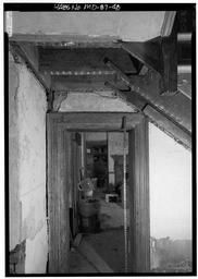 Entry Hall: Detail View Of East Door And Underside Stair Landing, With Scale