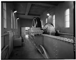 Interior View Of Headhouse, Showing Roller Gate Lifting Machinery, Looking Northwest