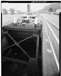 View Of Main Lock Tainter Valve Machinery, Looking West