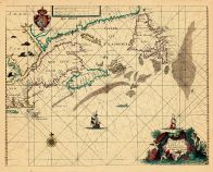 Map - Page 1 - A Chart of the/Coast of/AMERICA/from New found Land to Cape/Cod by Iohn Seller Hydrographer/to the king, A Chart of the/Coast of/AMERICA/from New found Land to Cape/Cod by Iohn Seller Hydrographer/to the king