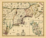 Map - Page 1 - A NEW MAPP OF/NEW ENGLAND/and/ANNAPOLIS/with the Country's adjacent//Sold by/C.BROWNE/at the North Gate of the/Royal Exchange and by him/at the Globe by the West-/enc of St. Pauls Church/LONDON, A NEW MAPP OF/NEW ENGLAND/and/ANNAPOLIS/with the Country's adjacent//Sold by/C.BROWNE/at the North Gate of the/Royal Exchange and by him/at the Globe by the West-/enc of St. Pauls Church/LONDON