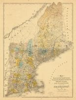 Map - Page 1 - Map of/MAINE, NEW HAMPSHIRE,/VERMONT, MASSACHUSETTS,/RHODE ISLAND,/AND CONNECTICUT./Exhibiting the/POST Offices, Post Roads, Canals, Rail Roads,andc./BY/David H. Burr./(Late Topographer to the Post, Map of/MAINE, NEW HAMPSHIRE,/VERMONT, MASSACHUSETTS,/RHODE ISLAND,/AND CONNECTICUT./Exhibiting the/POST Offices, Post Roads, Canals, Rail Roads,andc./BY/David H. Burr./(Late Topographer to the Post