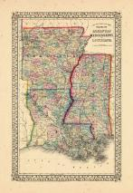 Map - Page 1, County Map of the states of Arkansas, Mississippi and Louisiana