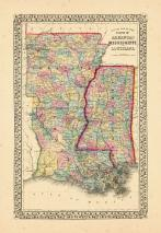 Map - Page 1, County map of the state of Arkansas, Mississippi and Louisiana, c.2