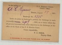 C. D. Eliot Somerville, Mass 1901 Clerk's Office U. S. District Court Back A. L. Wyman Bankrup, Perkins Collection 1861 to 1933 Envelopes and Postcards