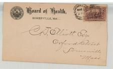 C. D. Elliott Esq. Oxford Street Somerville Mass. 1899c Board of Health Somerville, Mass, Perkins Collection 1861 to 1933 Envelopes and Postcards