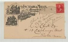 Charles D. Eliot Esq 13 Exchange Street, Boston Mass 1896 Jackson & Mason Real Estate Brokers, Perkins Collection 1861 to 1933 Envelopes and Postcards