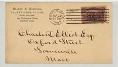Charles D. Elliot Esq Oxford Street, Somerville, Mass 1893 Blarney & Robinson Counsellors at Law Sears Building, Perkins Collection 1861 to 1933 Envelopes and Postcards