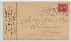 Charles D. Elliot Esq Somerville Mass 1896 Edward A. Binney Insurance, Real Estate and Mortgages, Perkins Collection 1861 to 1933 Envelopes and Postcards