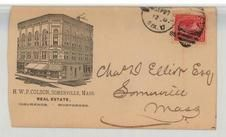 Charles D. Elliot Esq, Somerville, Mass 1895 H. W. P. Colson, Perkins Collection 1861 to 1933 Envelopes and Postcards