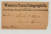 Charles D. Elliott - Western Union Telegraph Delivery Card, Perkins Collection 1861 to 1933 Envelopes and Postcards