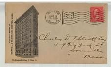 Charles D. Elliott Esq 59 Oxford St. Somerville Mass. 1897 Merrill & McDonald, Boston, Perkins Collection 1861 to 1933 Envelopes and Postcards