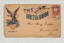 Miss Mary Elliot, Sommerville Mass 1861c Mechanicsville - The War for the Union, Don't anger me. Eagle illustration, Perkins Collection 1861 to 1933 Envelopes and Postcards