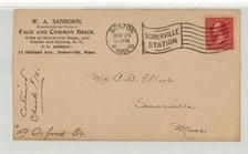 Mr. C. D. Elliot Somerville, Mass 1899 W. A. Sanborn Face and Common Brick, Perkins Collection 1861 to 1933 Envelopes and Postcards