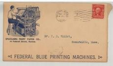 Mr. C. D. Elliot, Somerville, Mass. 1904 Spaulding Print Paper Co. - Federal Blue Printing Machines, Perkins Collection 1861 to 1933 Envelopes and Postcards