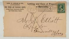 Mr. C. D. Ellit Oxford St Somerville 1888 Geo. R. Kelso & Co., Auctioneers, Real Estate and Insurance Agents, Perkins Collection 1861 to 1933 Envelopes and Postcards