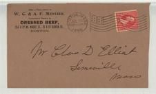Mr. Charles D Elliot Somerville Mass 1895 W. C. & A. F. Mentzer Dressed Beef, Perkins Collection 1861 to 1933 Envelopes and Postcards