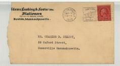 Mr. Charles D. Elliot, 59 Oxford Street, Somerville, Massachusetts. 1928 Adams, Cushing & Foster Inc. Stationers, Perkins Collection 1861 to 1933 Envelopes and Postcards