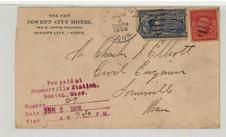 Mr. Charles D. Elliott Civil EngineerSomerville, Mass 1908 The New Jewett City Hotel Front, Perkins Collection 1861 to 1933 Envelopes and Postcards