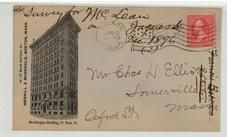Mr. Chas D Elliot Oxford Street Somerville, Mass 1897 Merril & McDonald, Boston, Mass, Perkins Collection 1861 to 1933 Envelopes and Postcards
