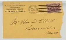 Mr. Chas D. Elliot Somerville Mass 1894 W. C. & A. F. Mentzer Dressed Beef, Perkins Collection 1861 to 1933 Envelopes and Postcards