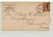 Mr. Chas. D. Elliot Civil Engineers Somerville Mass 1884 W. A. Greenough & Co., Directory Publishers, Perkins Collection 1861 to 1933 Envelopes and Postcards