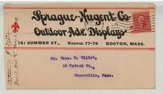 Mr. Chas. D. Elliot, 59 Oxford St., Somerville, Mass. 1908 Sprague Nugent Co. Outdoor Adv. Displays Version 1, Perkins Collection 1861 to 1933 Envelopes and Postcards
