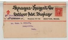 Mr. Chas. D. Elliot, 59 Oxford St., Somerville, Mass. 1908 Sprague Nugent Co. Outdoor Adv. Displays Version 2, Perkins Collection 1861 to 1933 Envelopes and Postcards