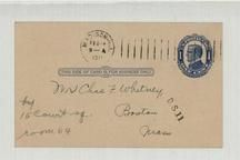 Mr. Chas. F. Whitney 15 Court SQ. Room 65 Boston Mass 1911, Perkins Collection 1861 to 1933 Envelopes and Postcards