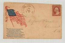 Mrs. Hacob W. Sanborn - Claremont, NH, 1861c Flag of the free heart's hope and home, Perkins Collection 1861 to 1933 Envelopes and Postcards