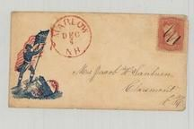 Mrs. Jacob W. Sanborn, Claremont 1861c Patriot Illustration, Perkins Collection 1861 to 1933 Envelopes and Postcards