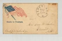 Mrs. Lucy M. Sanborn, Claremont, NH 1861 Death to Traitors illustration, Perkins Collection 1861 to 1933 Envelopes and Postcards