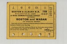 Boston and Albany Railroad  1890c Boston and Waban Twelve Ride Ticket, Perkins Collection 1873 to 1890c Railway Timetables and Tickets