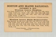 Boston and Maine Railroad 1873 East Somerville to Boston, Perkins Collection 1873 to 1890c Railway Timetables and Tickets