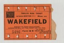 Boston and Maine Railroad 1890c Wakefield Twelve Ride Ticket , Perkins Collection 1873 to 1890c Railway Timetables and Tickets