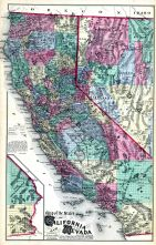 State Map of California and Nevada, Alameda County 1878
