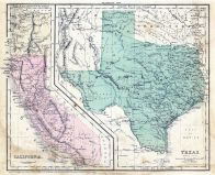 California - Texas - Oregon 1856 State Map, California - Texas - Oregon 1856 State Map