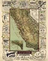 California State Map 1895 Roads for Cyclers 17x21, California State Map 1895 Roads for Cyclers