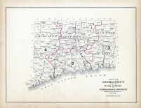 Connecticut Map Showing Towns, Counties and Congressional Districts, Connecticut State Atlas 1893