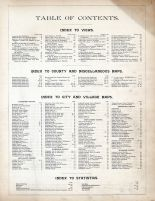 Table of Contents, Connecticut State Atlas 1893