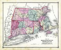 State Map - Connecticut Massachusetts Rhode Island, Litchfield County 1874